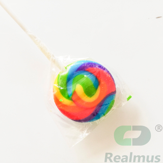 Halal lollipop cartoon round swirl sweet lollipop spring multi-colour Rainbow Twisty Lollipop Candy